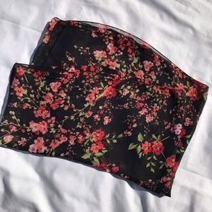 Red and Black Floral Scarf Wrap Lightweight NEW